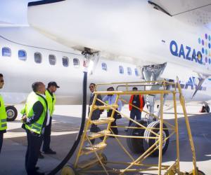 Заправка ВС Qazaq Air авиакеросином ТС1